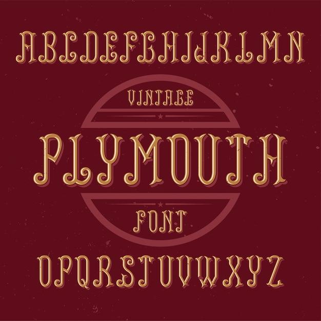 Carattere di etichetta vintage denominato plymouth. buono da usare in qualsiasi etichetta creativa. Vettore gratuito
