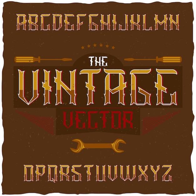 Carattere di etichetta vintage con design di etichetta di esempio. buono da usare in qualsiasi etichetta di design retrò. Vettore gratuito