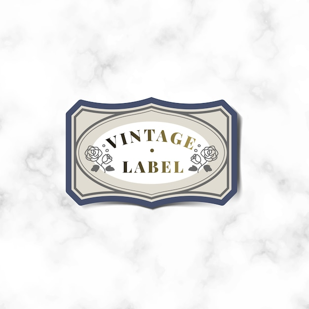 Vintage label sticker decorated with roses vector Free Vector
