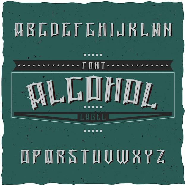 Винтажный шрифт этикетки под названием alcohol. хороший шрифт для любых винтажных этикеток или логотипов. Бесплатные векторы