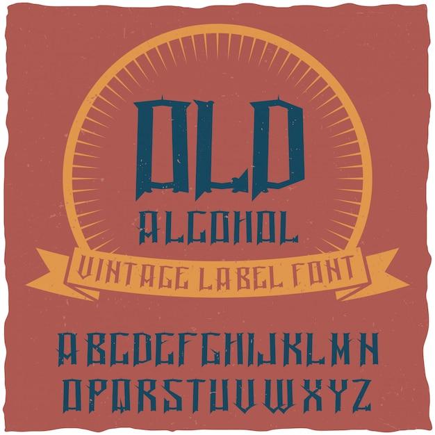 Alcoholという名前のヴィンテージラベルタイプフェース。ヴィンテージのラベルやロゴに使用するのに適したフォント。 無料ベクター