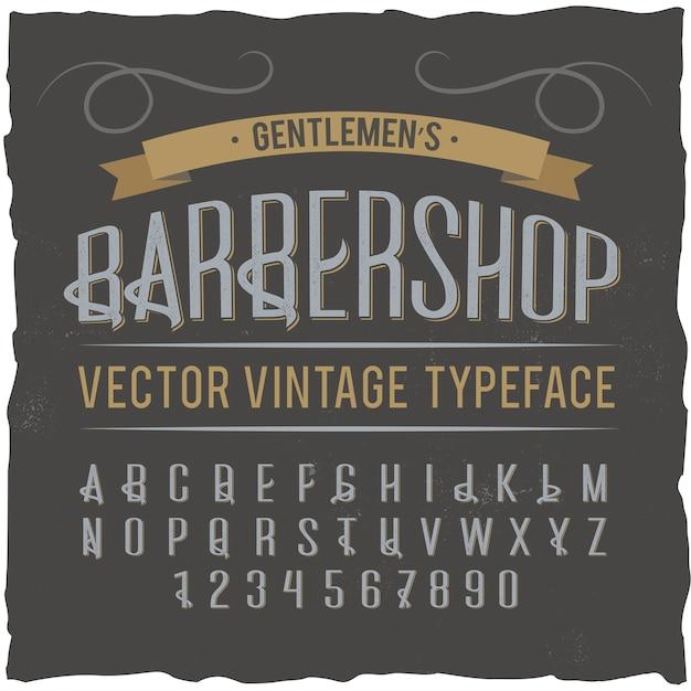 「理髪店」という名前のヴィンテージラベル書体。 無料ベクター