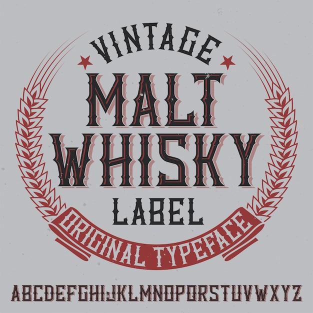Vintage label typeface named malt whiskyy Free Vector