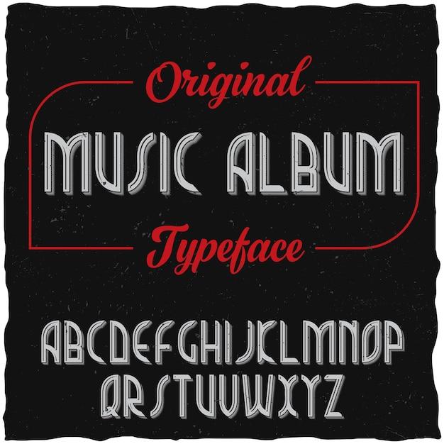 Carattere tipografico di etichetta vintage denominato music album. Vettore gratuito