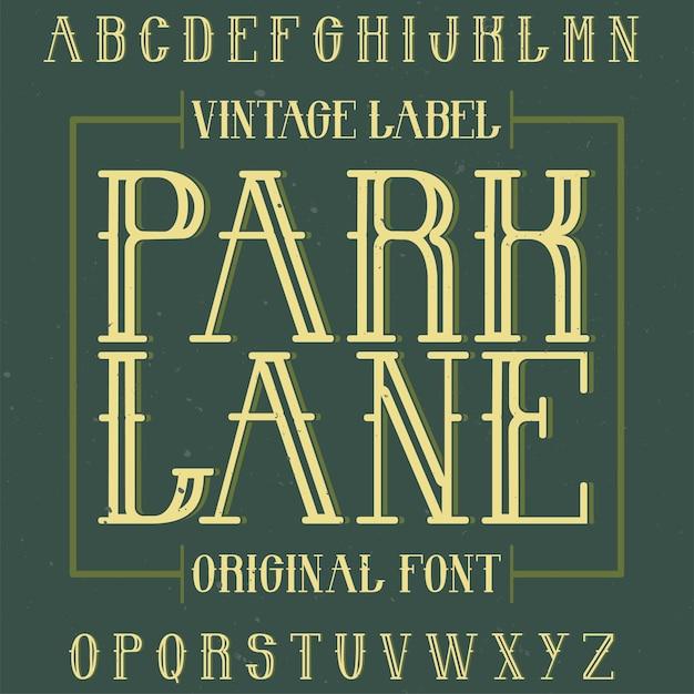 Винтажный шрифт для лейбла под названием park lane. Бесплатные векторы