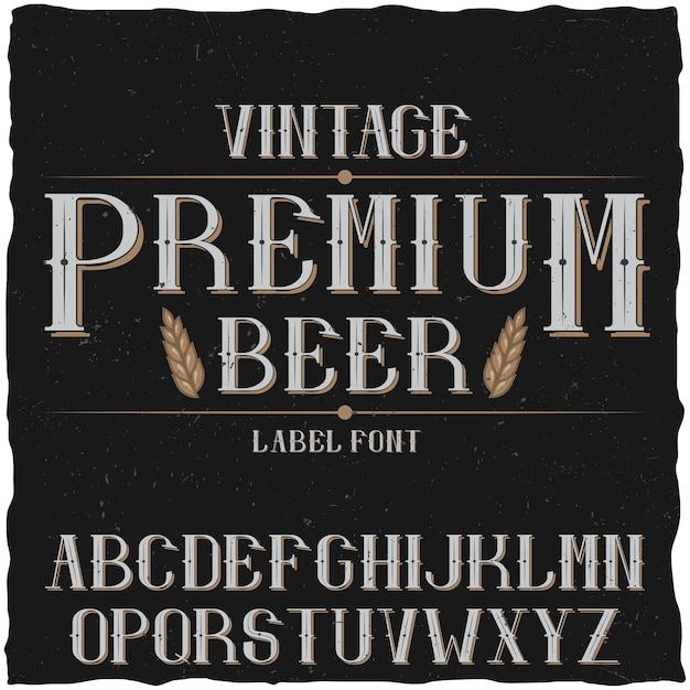 Гарнитура винтажной этикетки под названием premium beer Premium векторы