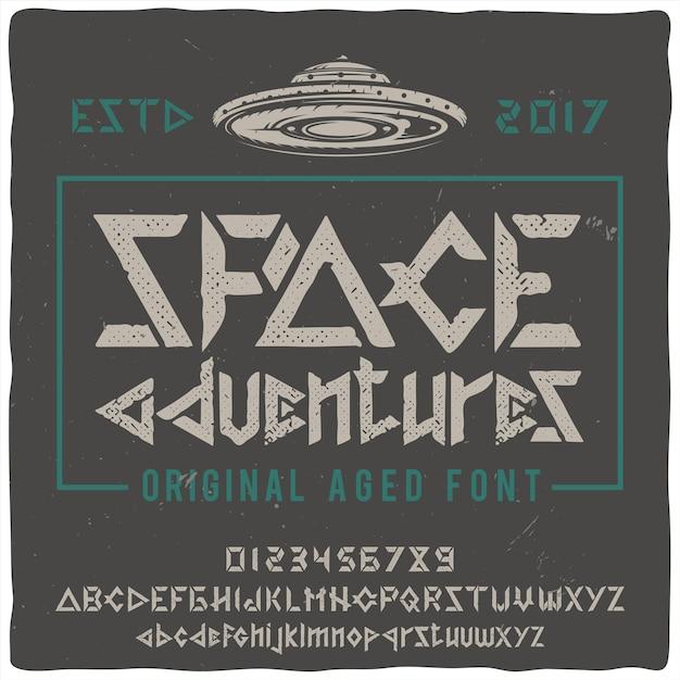 Гарнитура винтажной этикетки «космические приключения» с изображением нло. Бесплатные векторы