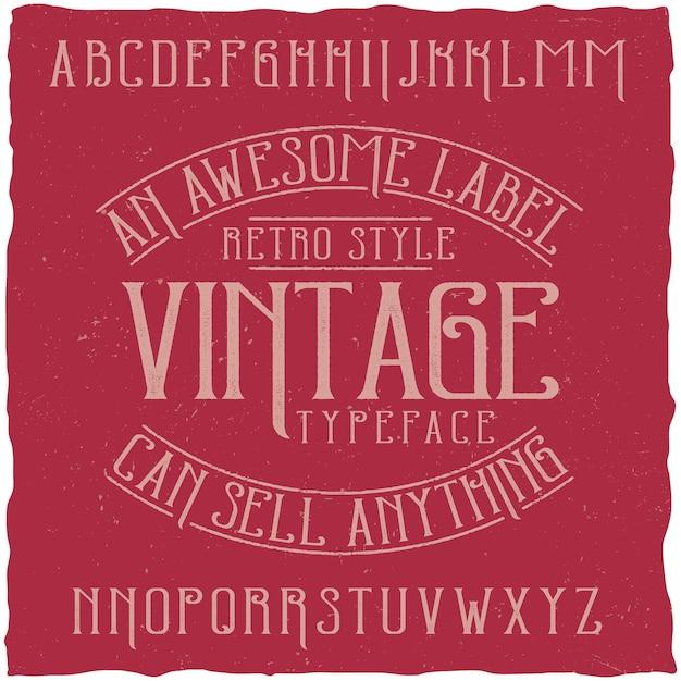 Carattere tipografico etichetta vintage denominato vintage. Vettore gratuito