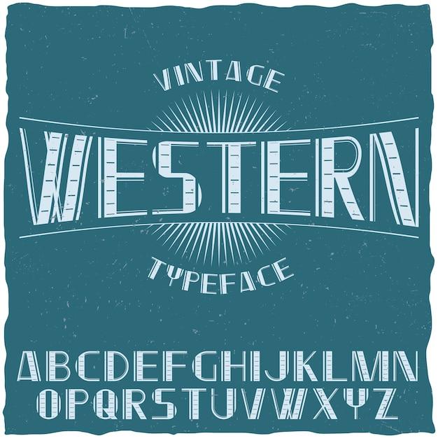 青い図のアルファベットで西洋というヴィンテージラベル書体 無料ベクター
