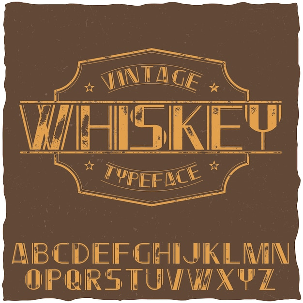 Vintage label typeface named whiskey on the brown illustration Free Vector