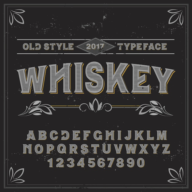Vintage label typeface named whiskey. good handcrafted font for any label design. Free Vector