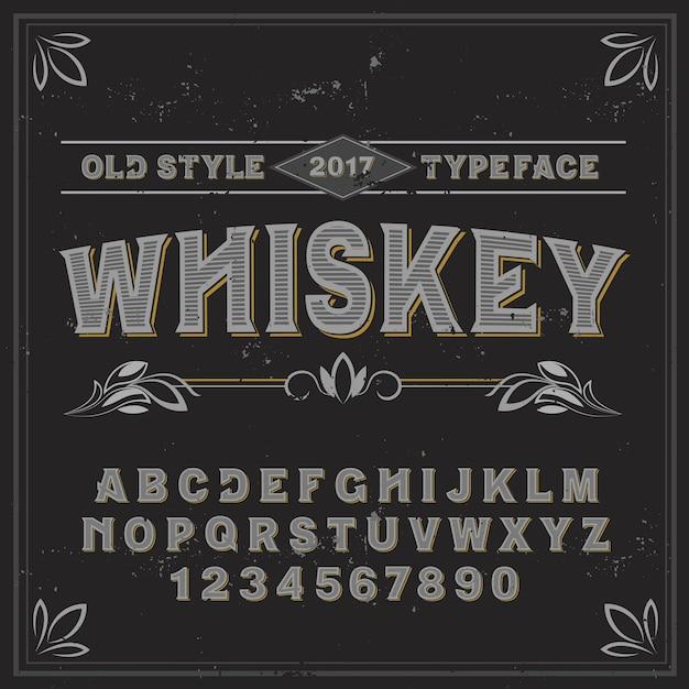 ウイスキーという名前のヴィンテージラベル書体。あらゆるラベルデザインに適した手作りフォント。 無料ベクター