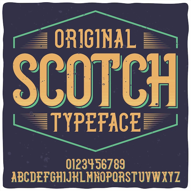 위스키라는 빈티지 라벨 서체. 좋은 수제 글꼴. 무료 벡터