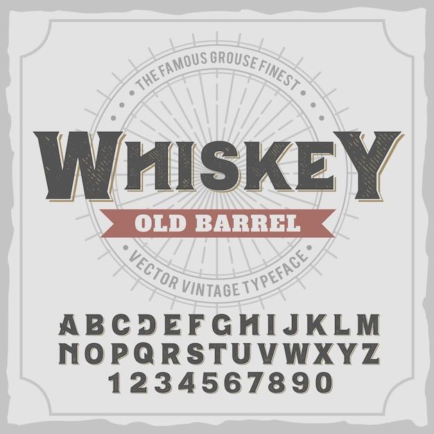 「ウイスキー」という名前のヴィンテージラベル書体。 無料ベクター