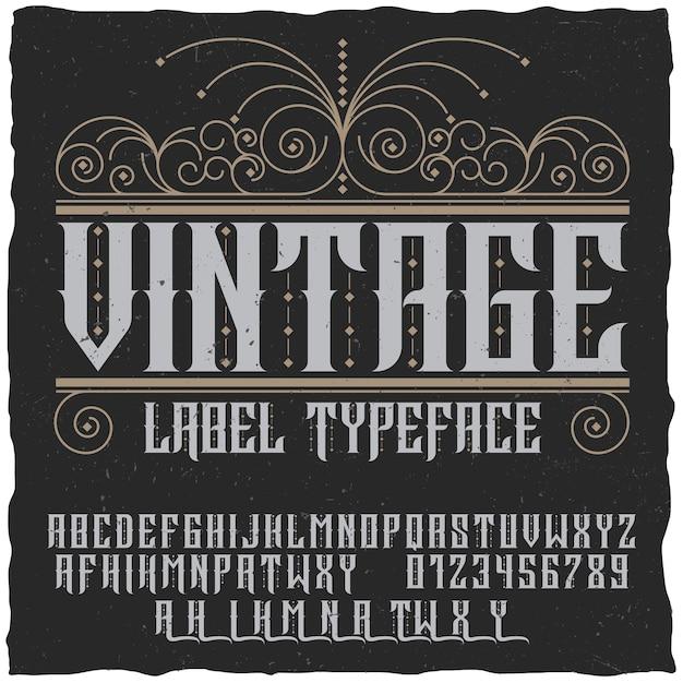 Poster di carattere tipografico etichetta vintage con alfabeto e figure sul nero Vettore gratuito