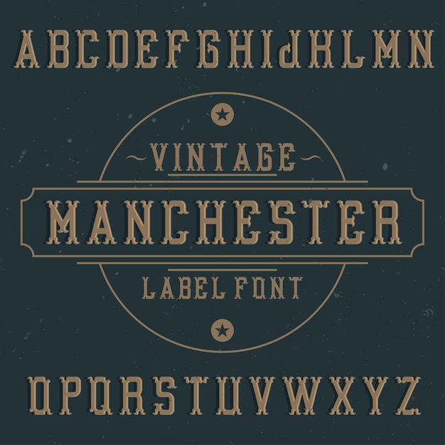 Carattere tipografico etichetta vintage Vettore gratuito