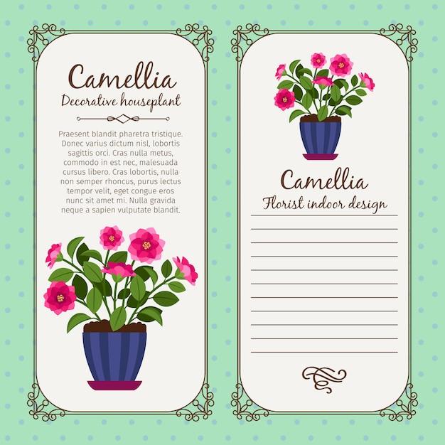 Винтажная этикетка с цветочной камелией в горшке Premium векторы
