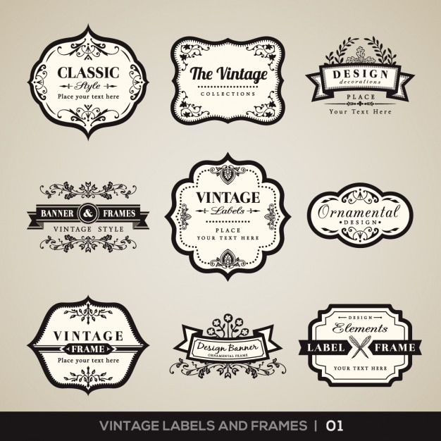 Vintage labels and frames collection Free Vector