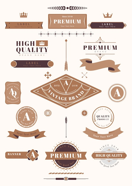 Vintage labels and badges Free Vector