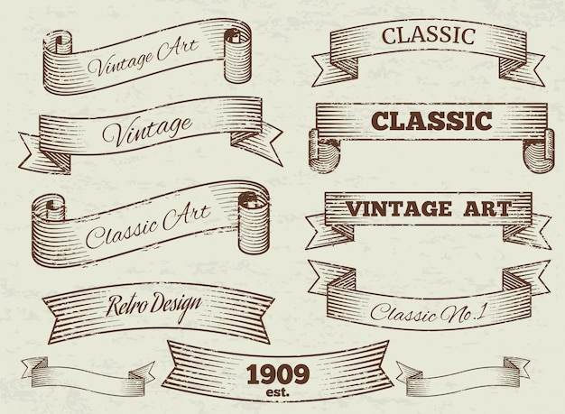 Vintage labels and banners collection Premium Vector