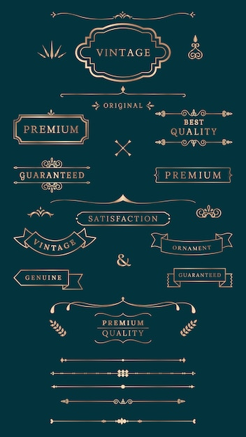 Vintage labels and banners Free Vector