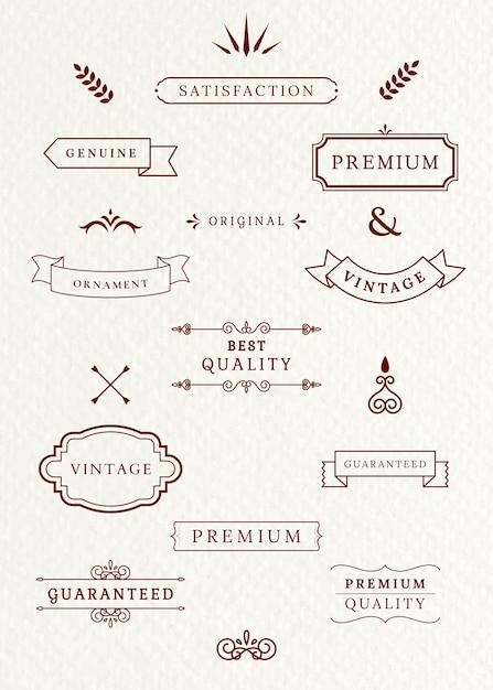 Etichette d'epoca e striscioni Vettore gratuito