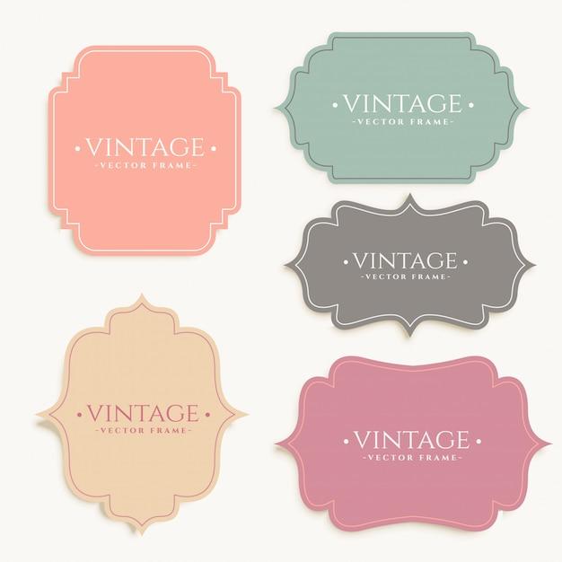 Vintage labels frame set design Free Vector