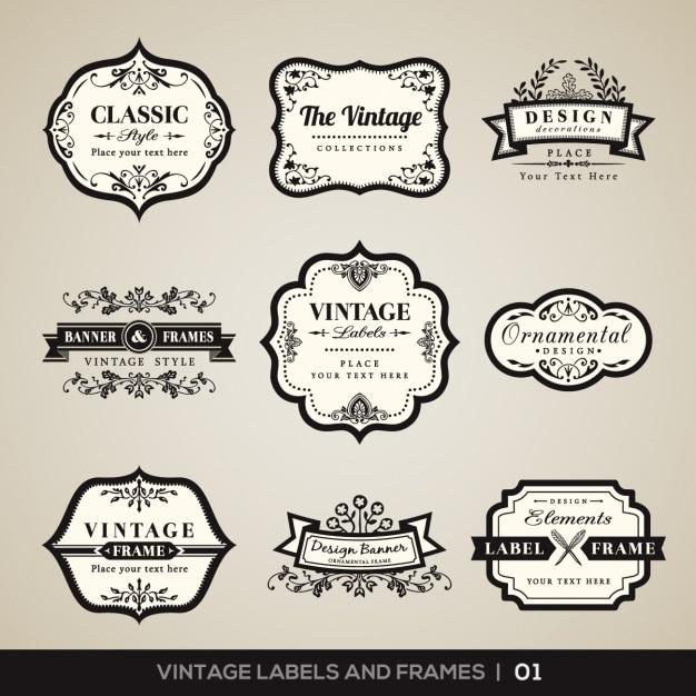 Vintage etichette e cornici collezione Vettore gratuito