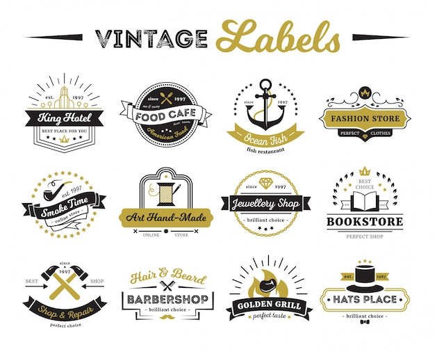 Vintage labels of hotel shops and cafe including bookstore barber Free Vector