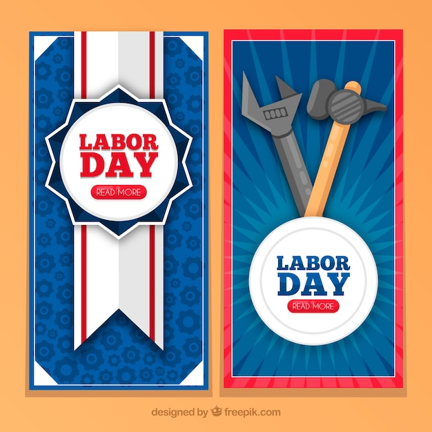 Vintage labor day banners with badge and\ tools