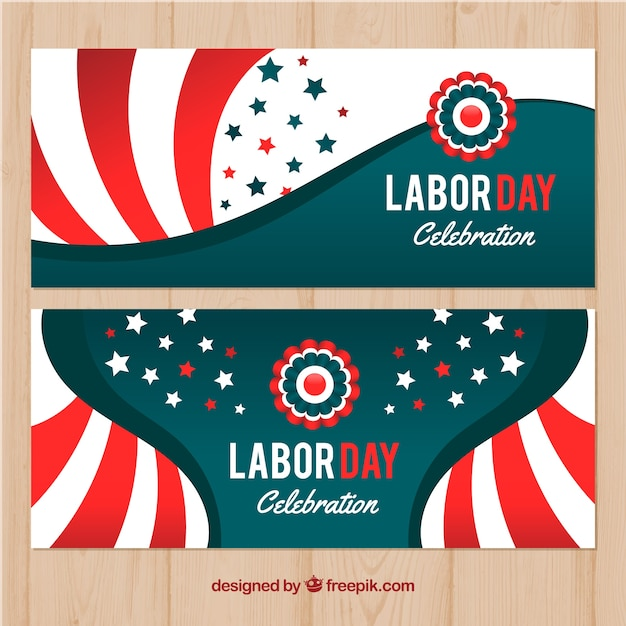 Vintage labor day banners