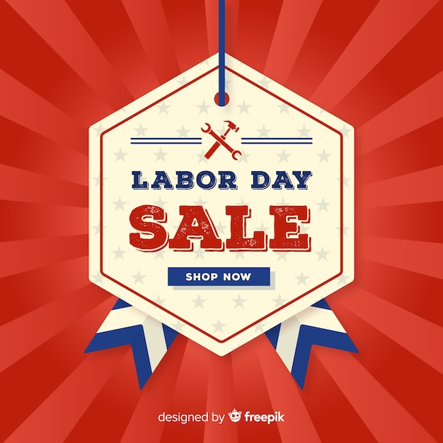 Vintage labor day sale background Free Vector
