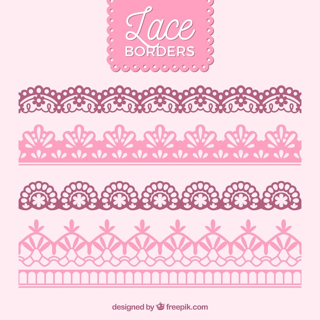 Vintage lace borders pack Free Vector