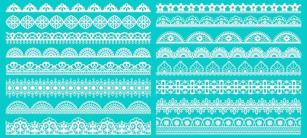 빈티지 레이스 테두리. 원활한 레이스 테두리. 복고풍 레이스 패턴 요소 집합을 나타냈다. 레이스 패턴 반복. 프리미엄 벡터