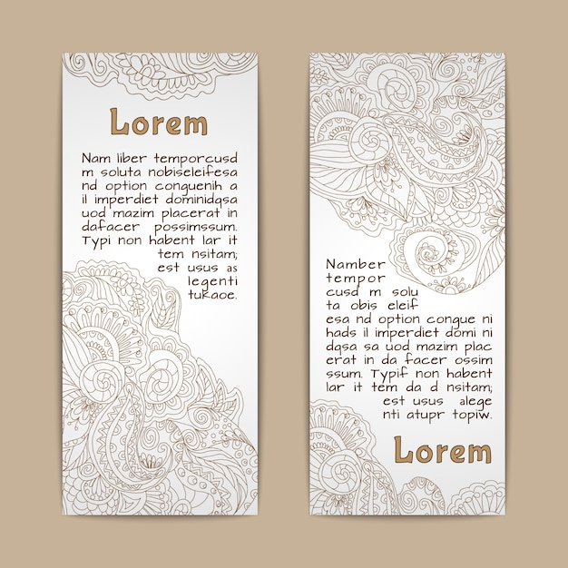Vintage lace ornamental banners vertical set  isolated Free Vector