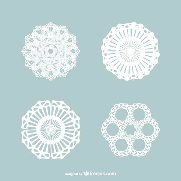 Vintage lace ornaments pack Vector   Free Download