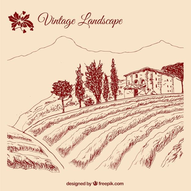Vintage landscape Free Vector