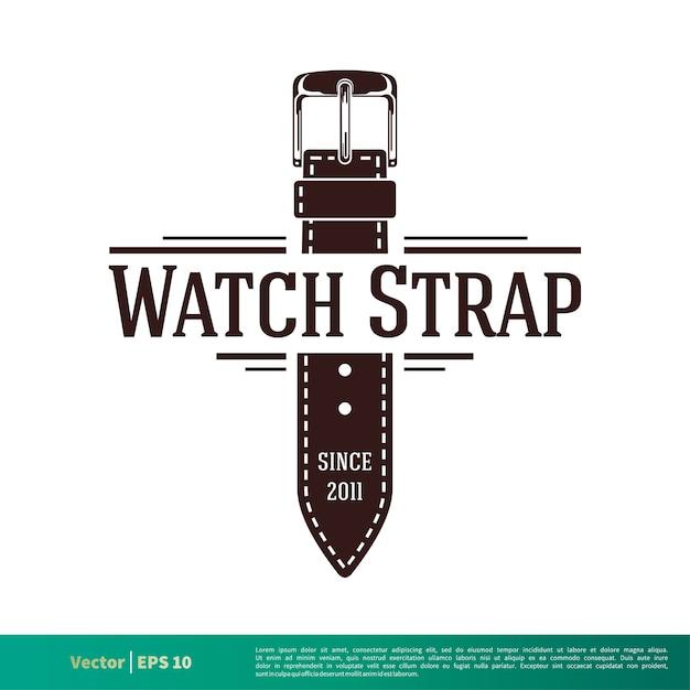 vintage leather watchstrap vector logo template vector premium