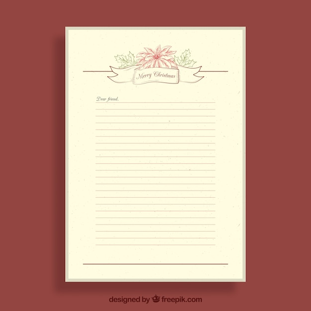 Vintage letter template for christmas Vector | Free Download