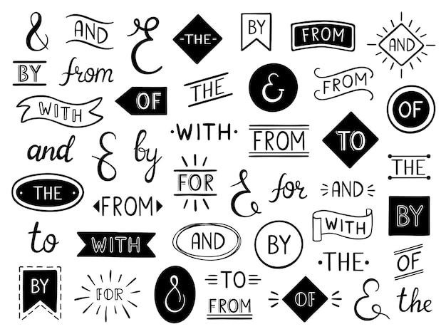 Vintage lettering ampersand and catchwords Premium Vector