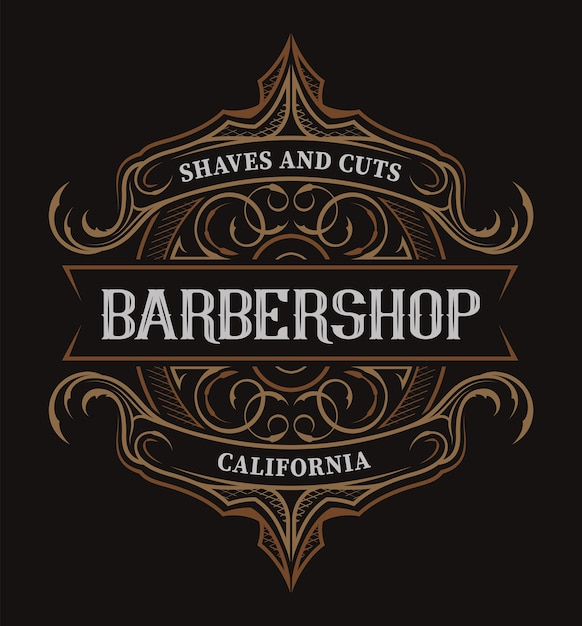 暗い背景に理髪店のビンテージレタリング。すべてのアイテムは別々のグループにあります Premiumベクター
