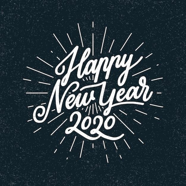 Старинные надписи с новым годом 2020 Бесплатные векторы
