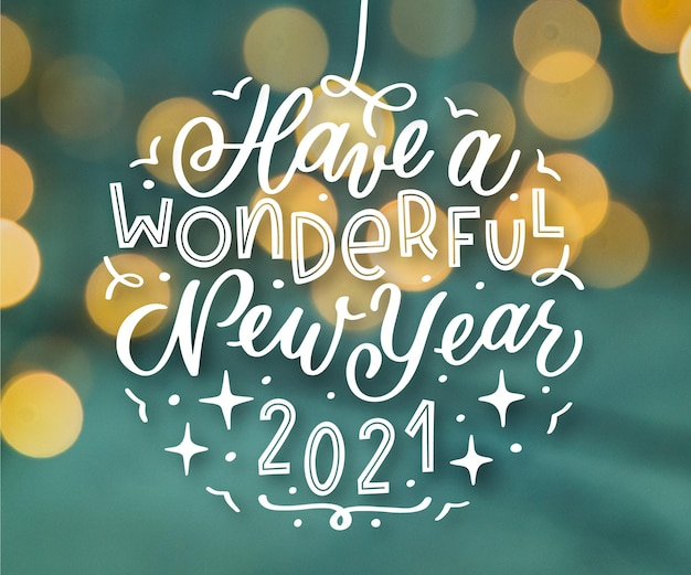 Free Vector Vintage Lettering Happy New Year 2021