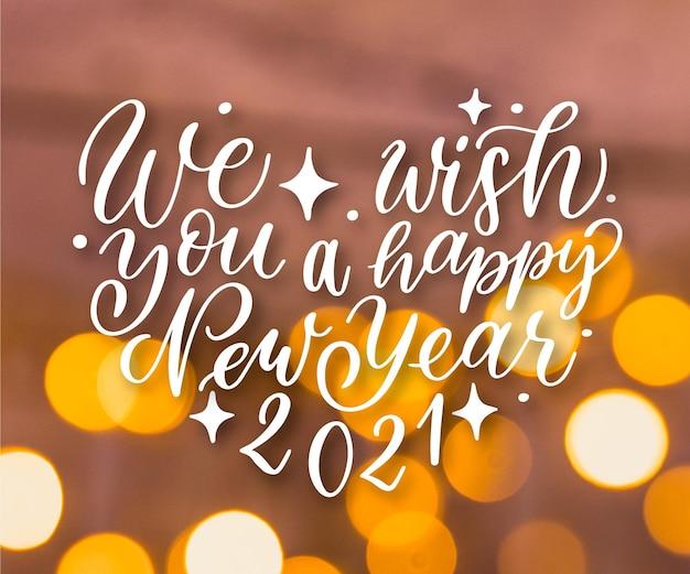 Lettering vintage felice anno nuovo 2021 Vettore gratuito