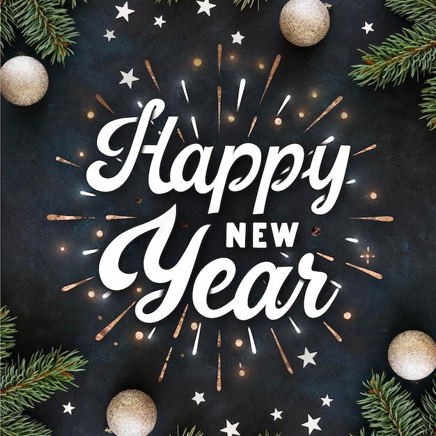 Винтажная надпись с новым годом 2021 Бесплатные векторы