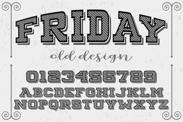 Vintage lettering label design friday Premium Vector