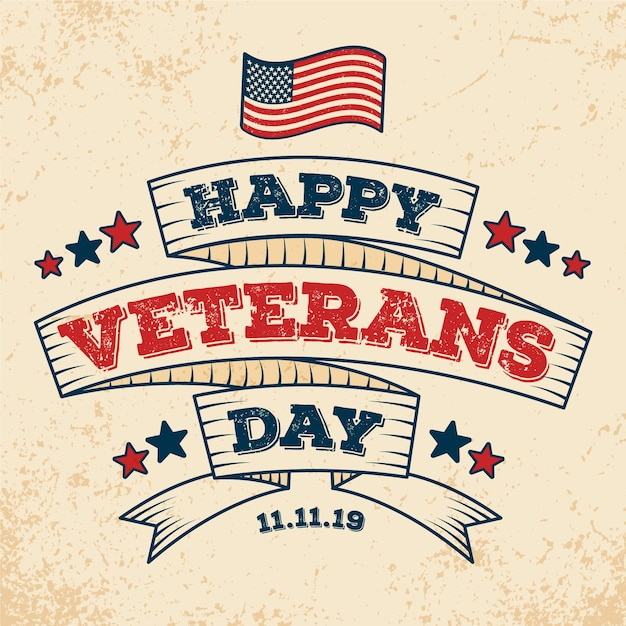 Vintage lettering veterans day background Free Vector