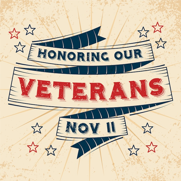 Vintage lettering veterans day wallpaper Free Vector