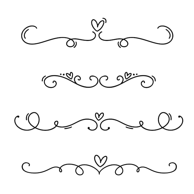 Vintage line elegant valentine dividers and separators, swirls and corners decorative ornaments. Premium Vector
