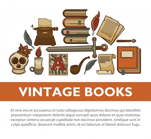 Vintage literature old books vector poster of writer quill ink pen typewriter vector icons Premium Vector